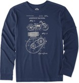 Life is Good Men's Crusher Long Sleeve Tee, Freedom Machine Blueprint, Dust Blue