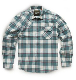 Howler Brothers Harker's Flannel Shirt, Pedernales Plaid: Off White/Sea Blue