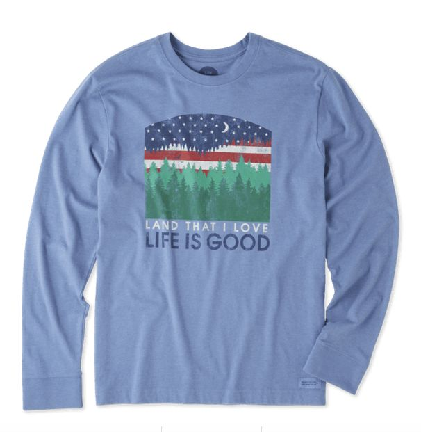 Life is Good Life Is Good Men's Long Sleeve, Land That I Love, Heather Vintage Blue