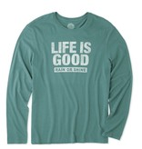 Life is Good Life Is Good Men's Long Sleeve Rain or Shine Smooth Tee, Forest Green