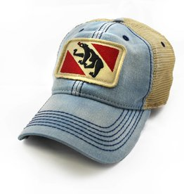 S.L. Revival Co. New Bern Flag Trucker Hat, Americana Blue