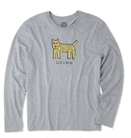 Life is Good Life Is Good Men's Long Sleeve Smooth Tee, Be the Dog Rocket, Heather Grey