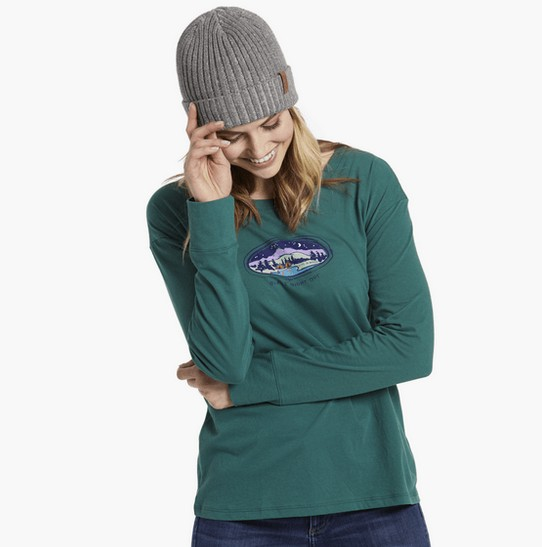 Life is Good Life Is Good Women's Long Sleeve Breezy Tee Girl's Night Out, Forest Green