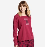 Life is Good Life Is Good Women's Long Sleeve Relaxed Bearly Awake, Wild Cherry