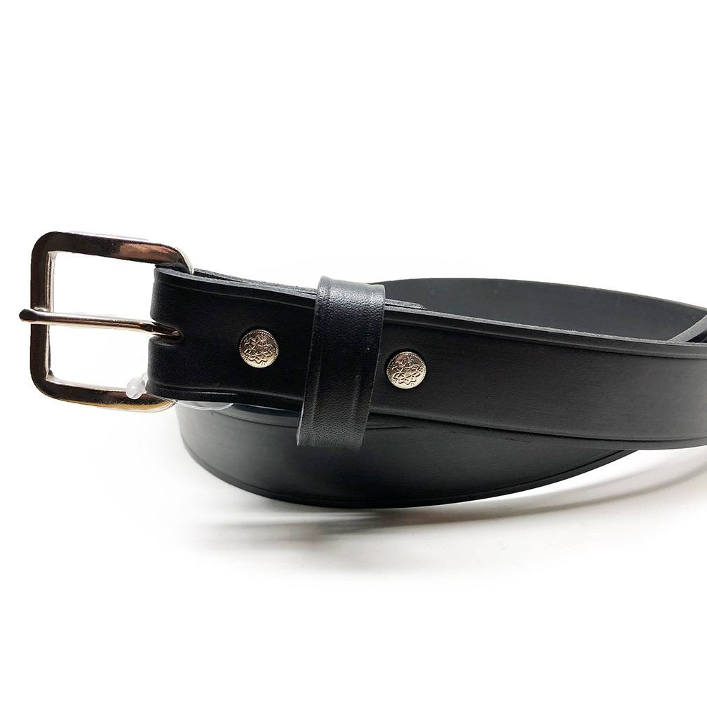 Surf, Wind and Fire Men's Leather Belt Black, Silver buckle