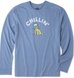 Life is Good Life Is Good Men's Crusher Long Sleeve Chillin' Rocket, Heather Vintage Blue