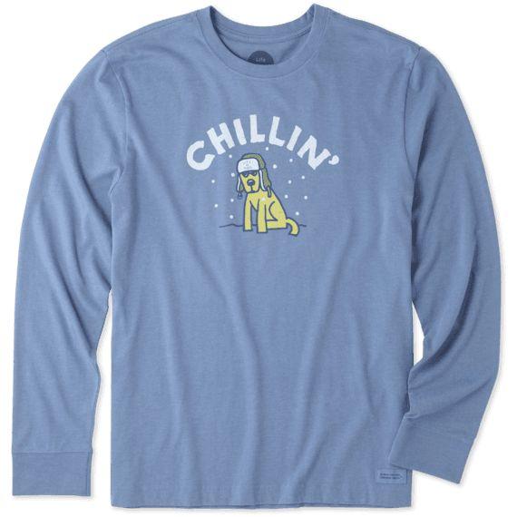 Life is Good Life Is Good Men's Crusher Long Sleeve Chillin' Rocket, Heather Vintage Blue