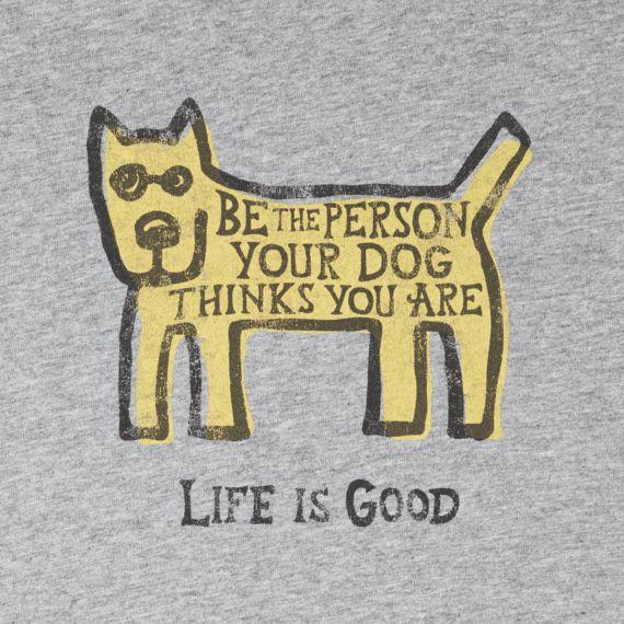 Life is Good Life Is Good Men's Long Sleeve Smooth Tee, Be the Dog Rocket, Heather Grey