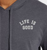 Life is Good Life Is Good Men's Long Sleeve Athletic Hooded Crusher Tee, Heather Night Black