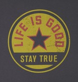 Life is Good Men's Long Sleeve Smooth Tee, Stay True Coin, Night Black
