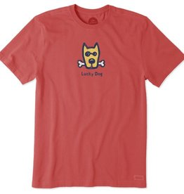 Life is Good Men's Crusher Tee, Classic Lucky Dog, Americana Red