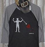 S.L. Revival Co. Blackbeard's Jolly Roger Flag Baseball Tee, Black/Grey