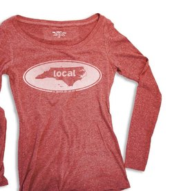 S.L. Revival Co. Women's Long Sleeve Vintage Local Oval, Vintage Red
