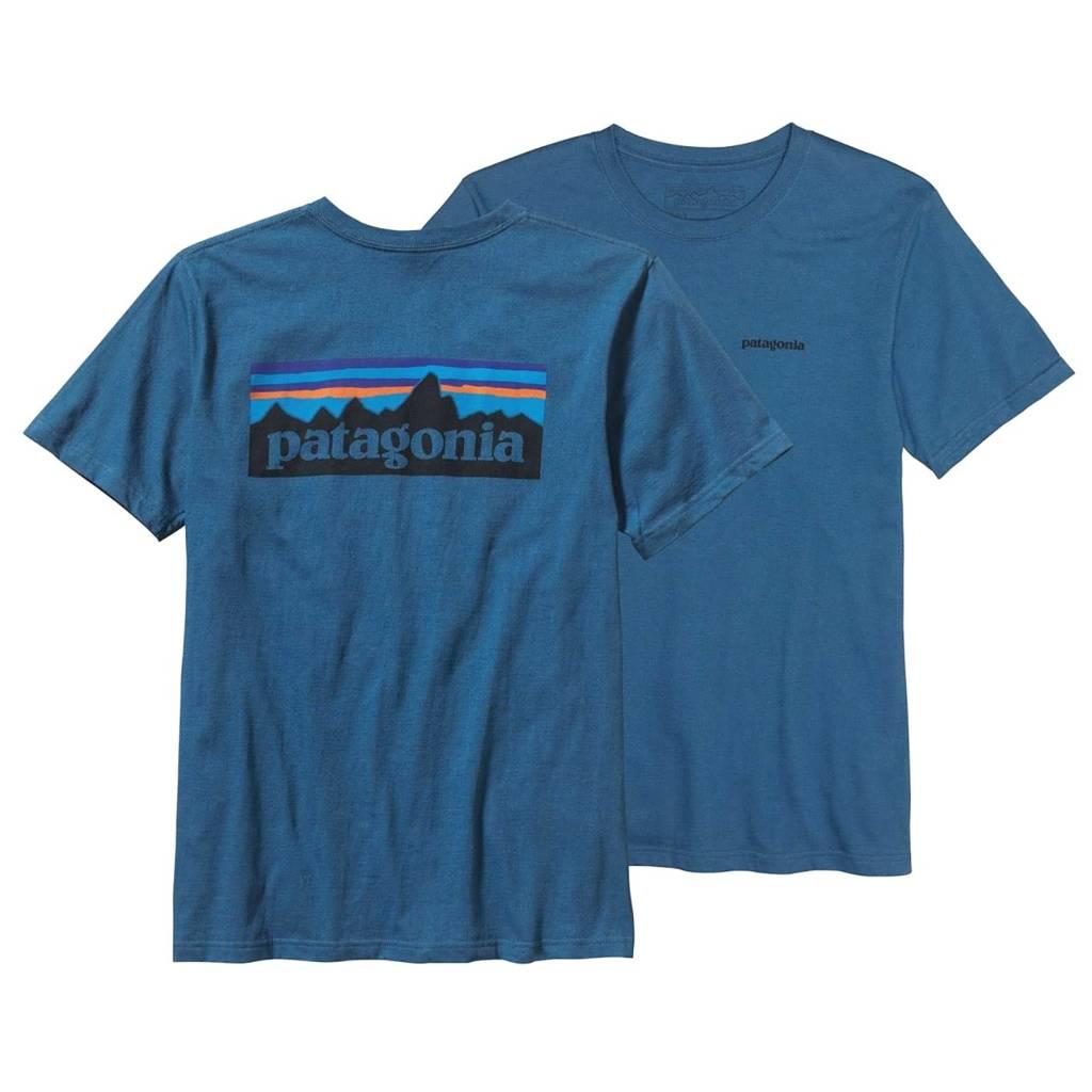 Patagonia Men's P-6 Logo Cotton T-Shirt, Glass Blue
