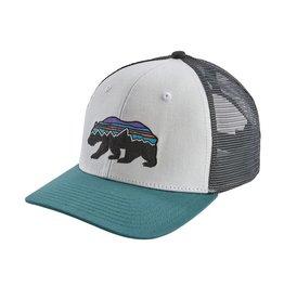 Patagonia Fitz Roy Bear Trucker Hat, White w/Tasmanian Teal