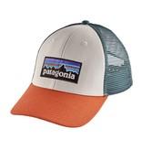 Patagonia P-6 Logo LoPro Trucker Hat, White w/Sunset Orange