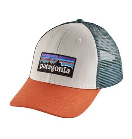 Patagonia P-6 Logo LoPro Trucker Hat, White w/Sunset Orange