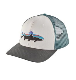 Patagonia Fitz Roy Trout Trucker Hat, White w/Forge Grey