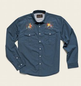 Howler Brothers Gaucho Snapshirt, Cobalt Microstripe: Dos Gallos