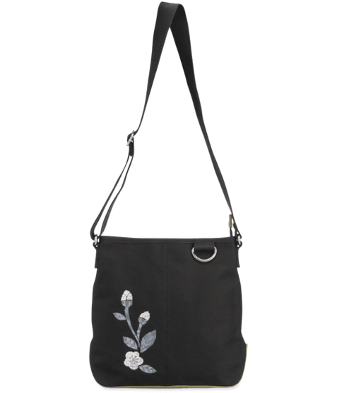 Life is Good Wayfarer Cross Body, Blooming Pansy, Night Black