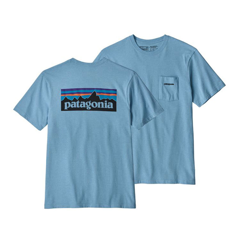 Patagonia M's P-6 Logo Pocket Responsibili-Tee, Break Up Blue
