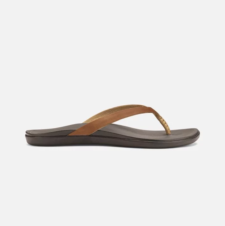 Olukai Women's Ho'opio Leather, Sahara/Dark Java