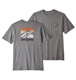 Patagonia M's Line Logo Ridge Pocket Responsibili-Tee, Gravel Heather