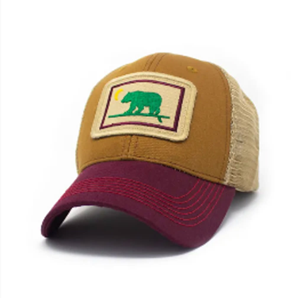S.L. Revival Co. Surfing Bear Everyday Structured Trucker Hat, Barnwood