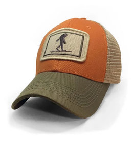 S.L. Revival Co. Surfing Sasquatch Everyday Trucker Hat, Structured, Burnt Orange and Olive