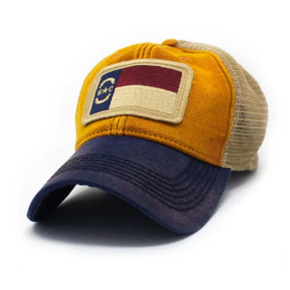 S.L. Revival Co. NC Flag Patch Trucker Hat, Ocean Sunset