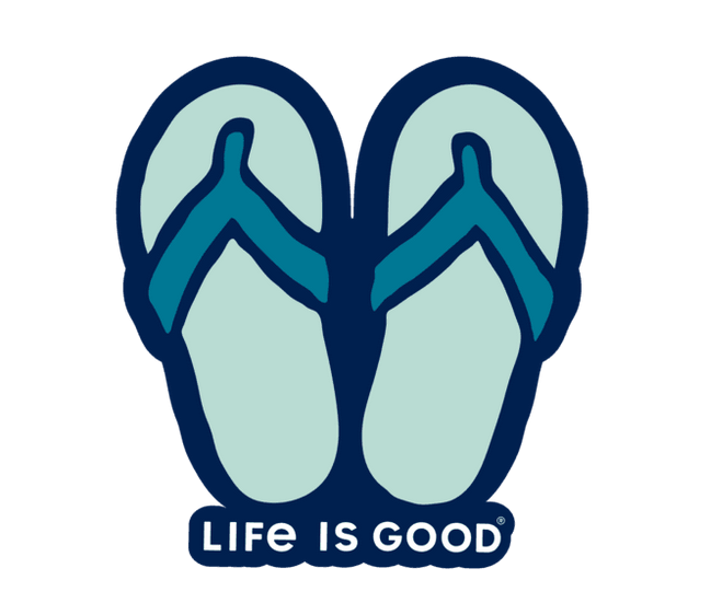 Life is Good Die Cut Sticker Flip Flops