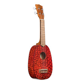 Kala Brand Silk Screen Pineapple Ukulele, Red