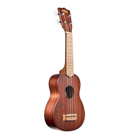 Kala Brand Mahogany Soprano Ukulele, No Binding w/ Hawaiian Islands
