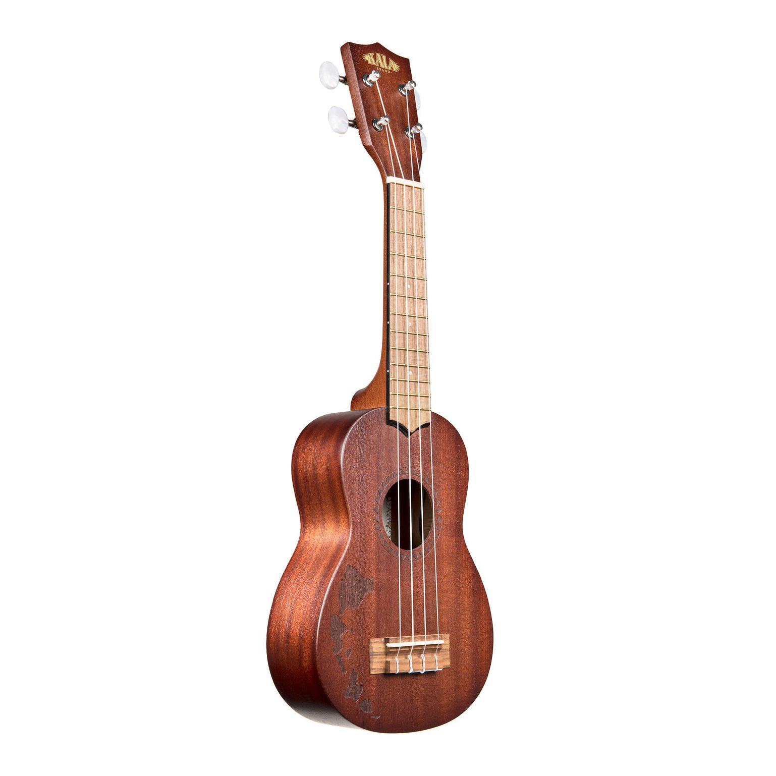 Kala Brand Mahogany Soprano Ukulele, No Binding w/ Hawaiian Islands