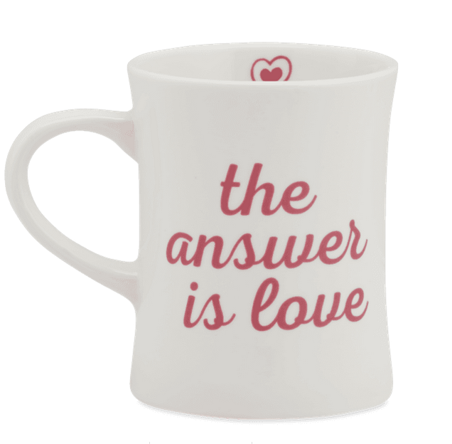 Life is Good Diner Mug The answer is love, Cloud White