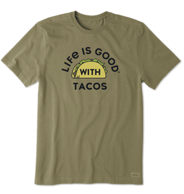 Life is Good M Crusher Tee LIG With Tacos, Fatigue Green