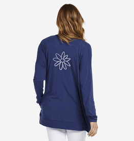 Life is Good W Supreme Cardigan Daisy Embroidery, Darkest Blue