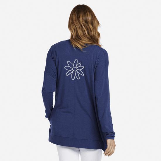 Life is Good W Supreme Cardigan Daisy Embroidery, Darkest Blue