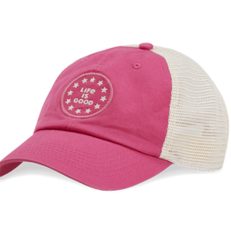 Life is Good Soft Mesh Back New Logo Stars Kids Hat, Pop Pink