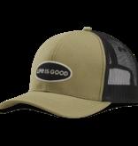 Life is Good Hard Mesh Back LIG Oval Hat, Fatigue Green