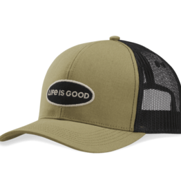 Life is Good Hard Mesh Back LIG Oval Hat, Fatigue Green
