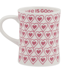 Life is Good Diner Mug Heart, Fiesta Pink