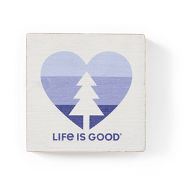 Life is Good Tree Heart Wooden Sign, Bone