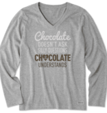 Life is Good W Crusher Vee Long Sleeve Chocolate Questions, Heather Gray