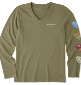Life is Good W Crusher Vee Long Sleeve 365 Hearts, Fatigue Green