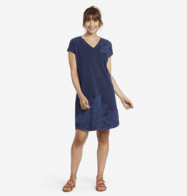 Life is Good W Slub Dress Lotus Embroidered, Darkest Blue