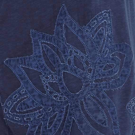 Life is Good W Slub Dress Lotus Embroidered, Darkest Blue