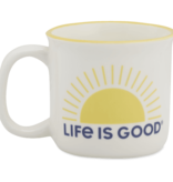 Life is Good Happy Camper Mug Sunrise, Cloud White