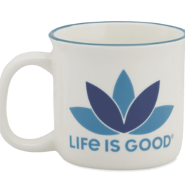 Life is Good Happy Camper Mug Lotus, Cloud White