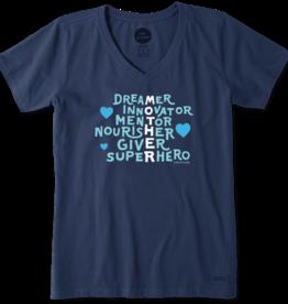 Life is Good W Crusher Vee Mother Superpower, Darkest Blue